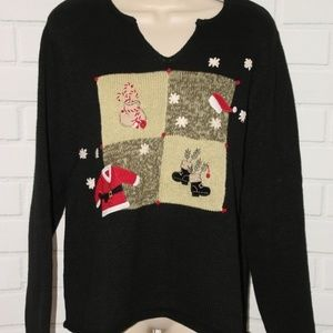 Sz M Ugly Christmas Mittens Snowflake Santa